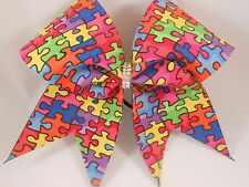 Autism Awareness Puzzle Pieces Cheer Bow by BlingItOnCheerBowz