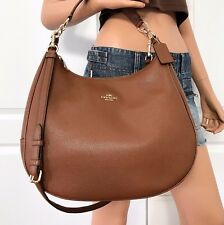 NWT COACH BROWN SIGNATURE PEBBLED LEATHER SHOULDER CROSSBODY HOBO BAG PURSE