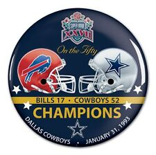 DALLAS COWBOYS BUFFALO BILLS SUPER BOWL XXVII CHAMPS ON THE FIFTY BUTTON