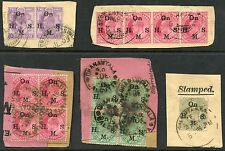 INDIA KING EDWARD 7th OFFICIALS BLOCKS etc 15 stamps USED on PIECE
