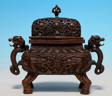 Rare Old Chinese Bronze Incense Burner Handle Cover Censer Collection WJ702