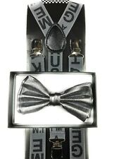 Metallic Bow Tie & Grey Stylist Suspender Wedding Party Apparel Accessories