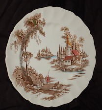 """Johnson Brothers The Old Mill 10"""" Round Dinner Plate  Brown Multi-Colored"""