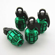 Green Grenade Style Wheel Tyre Tire Metal Valve Stems Caps Dust Covers For Jeep