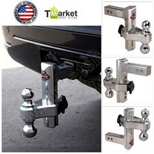 "Aluminum 8"" Hitch Dual Trailer Truck Tow Adjustable T3 Receiver Lock Trail Heavy"