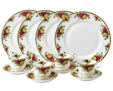 Royal Albert OLD COUNTRY ROSES 12 Piece Dinnerware Set Plates-Cups-Saucers New