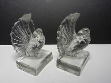 "Czechoslovakia Fantail Pigeons Figural Bookends Clear 6"" T Signed"