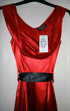 HEARTS AND ROSES RED GOTHIC SILKY SHINY DRESS / BLACK LACE SIZE XS