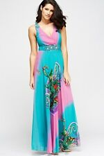 Womens Floral Multi Print Maxi Party Dress Wrap Front Beaded Turquoise Multi