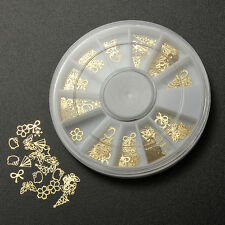Gold Metal Nail Art Tip Decal Sticker Wheel DIY UV Gel Polish Manicure Decor