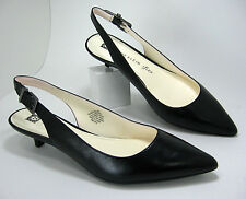 New Anne Klein Expert size 7.5 Black Leather Kitten Heel Pointy Toe Slingbacks