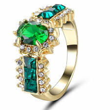 Size 6 Yellow Gold Plated Emerald Wedding Engagement Ring Birthday Couple