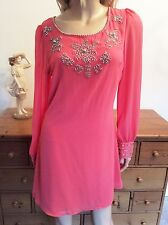 LITTLE MISTRESS Size M 10 12 Coral Beaded Sheer Sleeve TUNIC DRESS Party £42