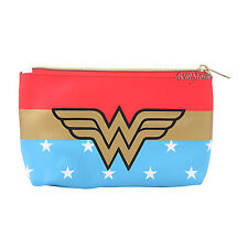 "DC Comics Wonder Woman Logo Stars Cosmetic Make-Up Tote Bag Coin Purse 5""x8"" NEW"