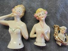 3 ANTIQUE HALF DOLL PORCELAIN PIN CUSHION heads Germany doll