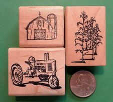 Tractor, Barn and Corn, set of 3 wood mounted rubber stamps