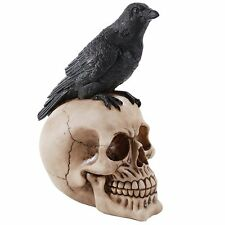 Perched Raven On Skull Poe Raven Figurine Halloween Home Decor Gift