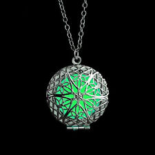 Green Silver 3D Round Box Fairy Locket Glow In The Dark Pendant Necklace Gift
