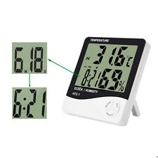 Light LCD Digital Thermo-hygrometer Temperature Humidity Tester Gauge w/ Clock