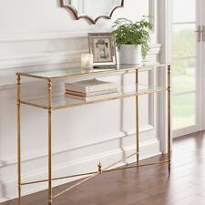 Horchow  Console Table Hollywood Regency Antique Gold & Glass Minimalist