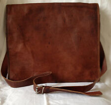 "NEW 16"" DARK BROWN GENUINE LEATHER MESSENGER BAG"