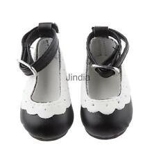 Cute 6.2cm Round Toe Mary Janes Ankle Strap Shoes for 1/4 BJD Dolls Black