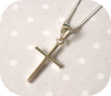 925 Solid Sterling SILVER Small Plain Cross Pendant Necklace With Chain