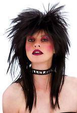 80er Jahre Rocker Perücke schwarz NEU - Karneval Fasching Perücke Haare