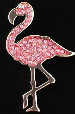 BELLA JACK RHINESTONE ISLAND FLORIDA PINK FLAMINGO BIRD PIN BROOCH JEWELRY 2.75""