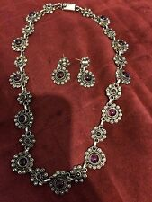 BEAUTIFUL VTG. MEXICO BALLESTEROS STERLING  SILVER AMETHYST NECKLACE EARRINGS