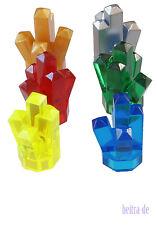 LEGO - 6 x Kristall 1x1 mit 5 Zacken in 6 Farben / Crystal / 52 NEUWARE