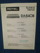 ROTEL R-840 INTEGRATED AMP TECHNICAL SERVICE MANUAL FACTORY ORIGINAL
