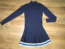 Youth Cheerleader Uniform Outfit Cheerleading Cheer Costume Navy Top Skirt 32/22