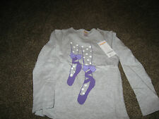 NWT Gymboree Gray Long Sleeve Purple Ballet Slippers Graphic 100% Cotton Top 7