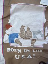 Partially Done Crewel Embroidery Kit BORN IN THE USA Teddy Bears & FLOSS FLY