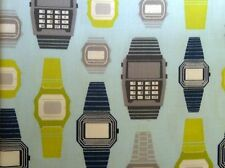 Digital Watch Print Fabric Sky Blue Lime - Retro Geek Style - Kaufman Per FQ