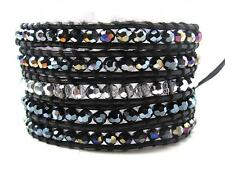 Crystal Beaded AB 5X Multi Wrap Bracelet Black Genuine Leather  #3 NEW