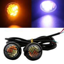 1Pair Switchback Dual Color Cold White Amber 4014 12 SMD Eagle Eye Led Light DRL