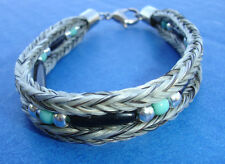 Western Cowboy/Cowgirl Jewelry Woven Horsehair Bracelet White Bone/Bead 7 3/4""