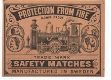 """Old Swedish Safety Matches Label"""" Protection from Fire """" with Train"""