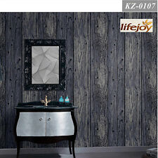 Antique Rustic Timber Plank Panel Wood Textured Wallpaper in Dark Grey
