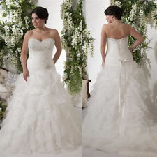 A-Line White/Ivory Plus Size Organza Bridal Gown Wedding Dress Custom 12 to 28 +