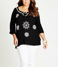 Plus Size Embroidered Cheesecloth Short Sleeve Black Ladies Tunic Size 16