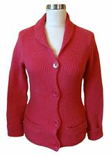 HOBBS CHUNKY THICK KNIT WOOL PINK CARDIGAN SWEATER JACKET JUMPER SHAWL COLLAR 8