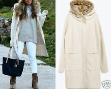 ZARA M / 38 40 COAT WITH FAUX FUR HOOD JACKET PONCHO MANTEL JACKE  REF. 6873/107