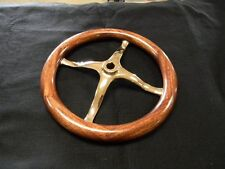 "MODEL T FORD SPEEDSTER BRASS SPIDER STEERING WHEEL WITH MAHOGANY RIM 12 1/2"" OD"