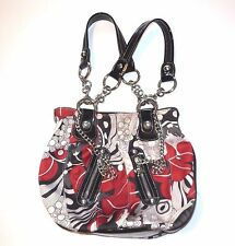 Kathy Van Zeeland Floral Chain Purse Satchel Hand Bag Red Black