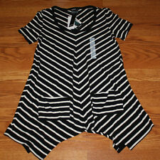NWT Womens PREMISE Black White Striped Pocket T-Shirt Dress Size S Small