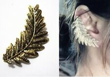 Hot Vintage Punk Style Bronze Leaf Cuff Clip Ear Stud Earring Left Ear
