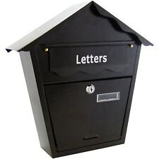 BLACK LETTERBOX POSTBOX TRADITIONAL LETTER POST STEEL METAL MAIL BOX LOCK & KEYS